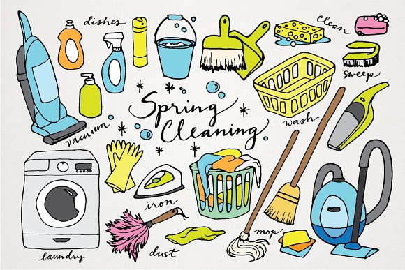 Clip Art Spring Cleaning Clipart spring cleaning hand drawn clipart illustrations on creative market illustrations