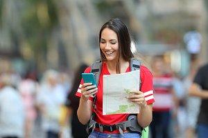 Teenage tourist searching destinatio