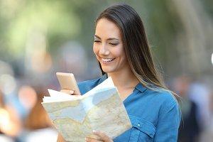 Tourist checking destination in a sm