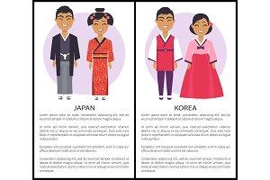Japan and Korea Nationalities Vector
