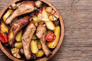 Sliced barbecue pork ribs