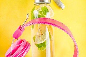 Homemade summer lemonade in bottle