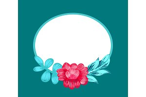 Flower and Oval Shaped Frame Vector