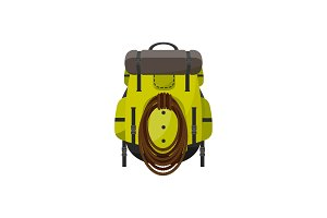 Backpack in a flat style. Vector