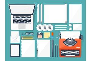 Vector illustration. Flat typewriter