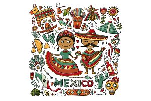Travel to Mexico. Greeting card for