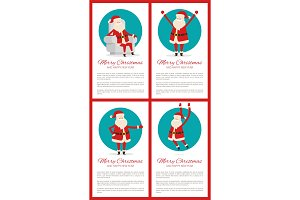Merry Christmas Banners Set Vector