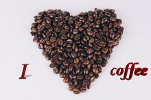 Heart of coffee beans with words 3d