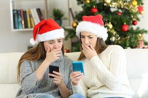 Worried women reading bad news in ch