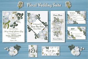 White Floral Wedding Invitation Suit