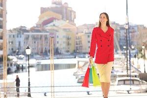 Shopper walking towards camera in wi