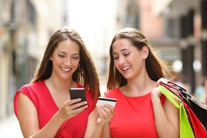 Shoppers buying online with credit c