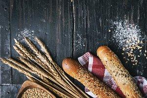 Fresh french baguette bread, organic