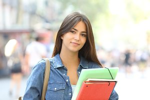 Relaxed student looking at camera in
