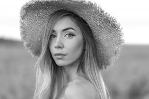 Closeup portrait. Girl in the summer