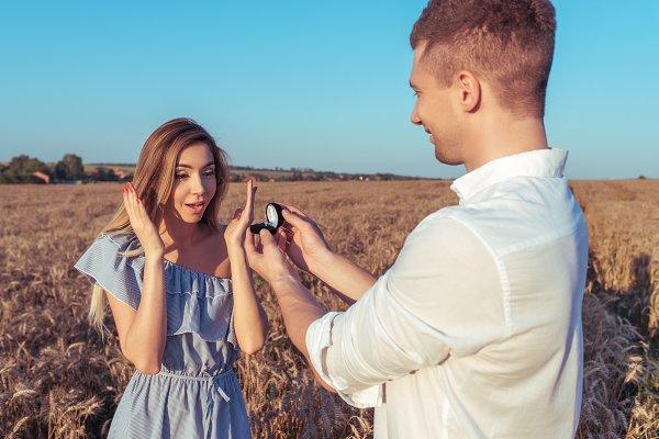 A young man makes proposal his