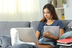 Disabled student e-learning at home