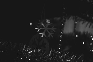 Christmas Tree Snowflake. Retro.