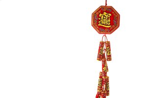Chinese Red firecrackers on white ba