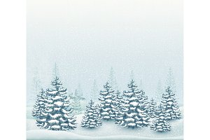 Forest winter landscape vector