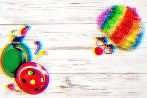 Carnival mask clown wig glitch