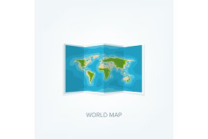 World map in a flat style. Earth