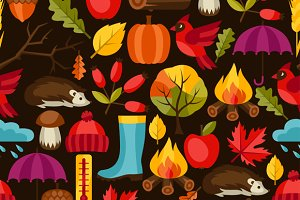 Seamless patterns with autumn icons.