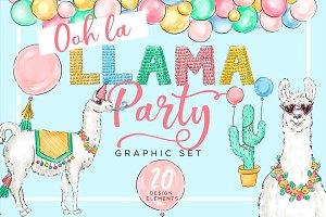 Llama Party Design Elements
