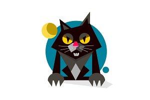 Creative Black Cute Cat Logo Design