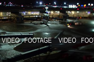 Timelapse of airport at winter night