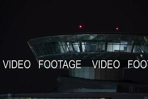Time lapse of airport control tower