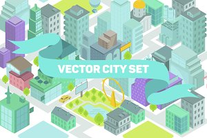 Vector of the isometric set city