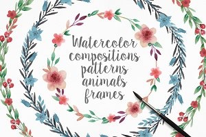 Watercolor frames, patterns, animals