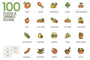100 Food & Drinks Icons - Eco Series