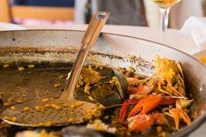 Paella, seafood and rice