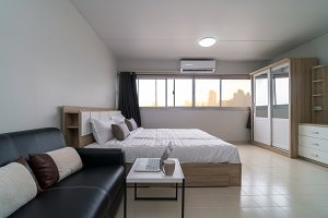 Interior bedroom with leather sofa o