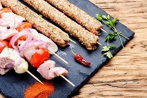 Raw kebabs in skewers