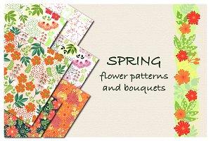 Hand drawn flowers pattern