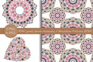 PNG pearl decor elements+pattern JPG