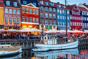 Nyhavn illuminated night Copenhagen