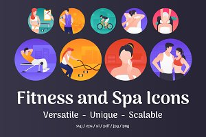 45 Fitness and Spa Vector Icons