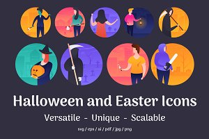 Halloween and Easter Vector Icons