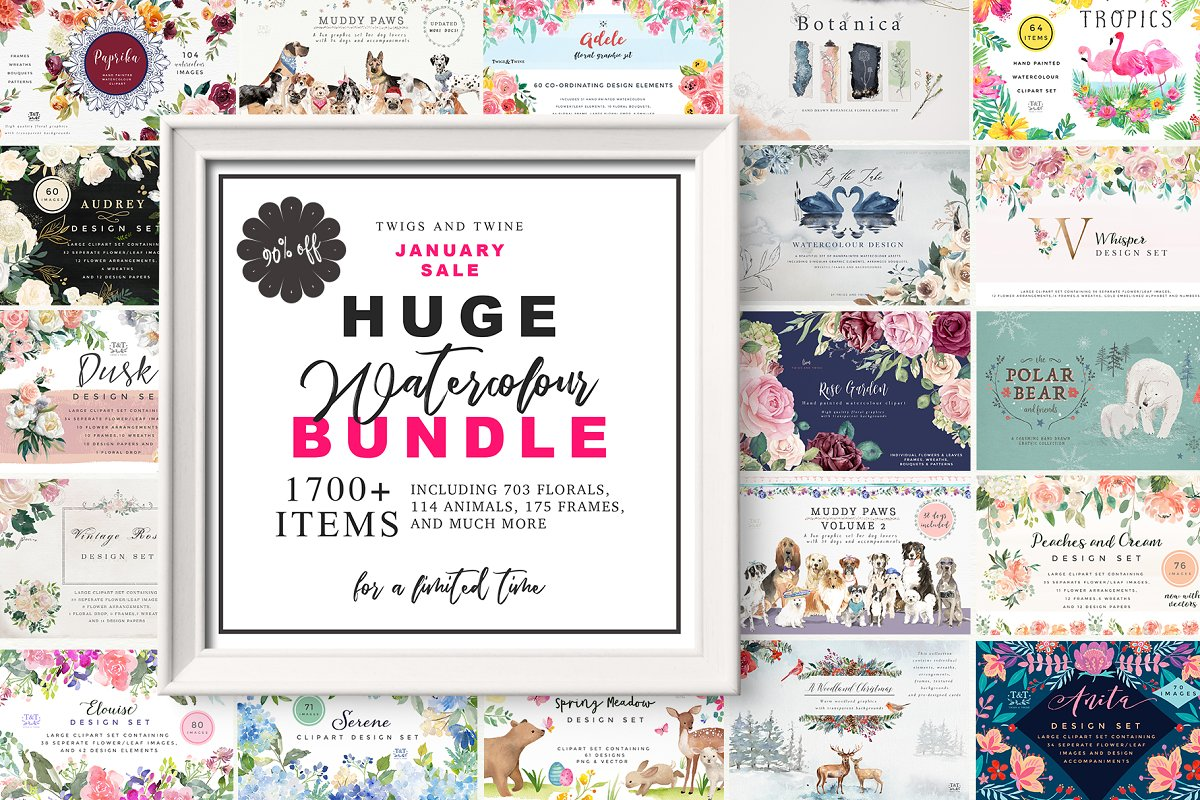 January Sale Huge Watercolor Bundle