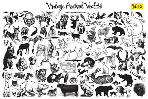 Vintage Animal Vector Set 2