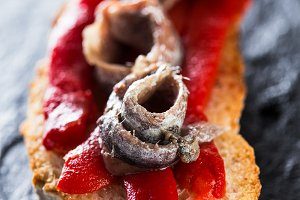 Anchovies with red pepper