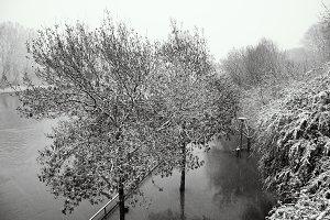 Winter Marne river flood. France.