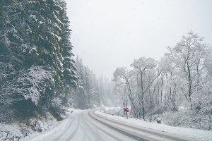 Snowy mountain road during the winte