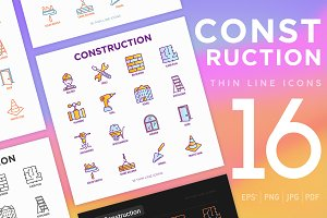 Construction | 16 Thin Line Icons