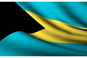 Flying Flag of Bahamas . All