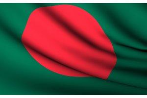 Flying Flag of Bangladesh . All
